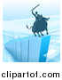 Vector Illustration of a Silhouetted Business Man Holding a Sword and Riding a Stock Market Bull on a Blue Bar Graph by AtStockIllustration
