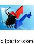 Vector Illustration of a Silhouetted Business Man Wielding a Sword and Riding a Stock Market Bull Against a Graph with Arrows by AtStockIllustration