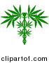 Vector Illustration of a Silhouetted Green Medical Marijuana Design with a Cannabis Plant Growing on a Caduceus by AtStockIllustration
