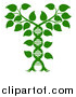 Vector Illustration of a Silhouetted Green Plant Forming a Dna Caduceus by AtStockIllustration