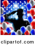 Vector Illustration of a Silhouetted Male Military Veteran Saluting over an American Flag and Balloons by AtStockIllustration