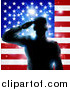 Vector Illustration of a Silhouetted Male Military Veteran Saluting over an American Flag and Bursts by AtStockIllustration