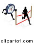 Vector Illustration of a Silhouetted Man Running Through a Finish Line Before a Clock Character by AtStockIllustration