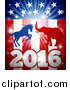 Vector Illustration of a Silhouetted Political Aggressive Democratic Donkey or Horse and Republican Elephant Fighting over a 2016 American Flag and Burst by AtStockIllustration