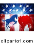 Vector Illustration of a Silhouetted Political Aggressive Democratic Donkey or Horse and Republican Elephant Fighting over American Stars and Stripes and a Burst by AtStockIllustration