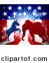 Vector Illustration of a Silhouetted Political Democratic Donkey and Republican Elephant Fighting over an American Design and Burst by AtStockIllustration