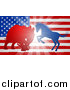 Vector Illustration of a Silhouetted Political Democratic Donkey or Horse and Republican Elephant Battling over an American Flag and Burst by AtStockIllustration