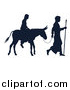 Vector Illustration of a Silhouetted Virgin Mary on a Donkey and Joseph by AtStockIllustration