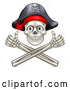 Vector Illustration of a Smiling Pirate Skull with Cross Bones Jolly Roger Giving Thumbs up Hand Gesture by AtStockIllustration