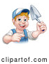 Vector Illustration of a Smiling White Male Mason Posing with a Trowel and Pointing by AtStockIllustration