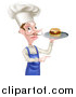 Vector Illustration of a Snooty White Male Chef with a Curling Mustache, Holding a Gourmet Cheeseburger on a Tray and Pointing by AtStockIllustration