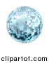 Vector Illustration of a Sparkly Blue Disco Mirror Ball, on a White Background by AtStockIllustration