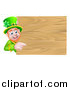 Vector Illustration of a St Patricks Day Leprechaun Pointing Around a Wooden Sign by AtStockIllustration