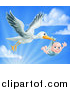 Vector Illustration of a Stork Bird Flying a Baby Boy in a Bundle Against a Blue Sky with Clouds and Sunshine by AtStockIllustration