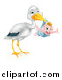 Vector Illustration of a Stork Bird Holding a Happy Baby Boy in a Blue Bundle by AtStockIllustration