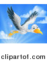 Vector Illustration of a Stork Bird in Flight Against Sky by AtStockIllustration