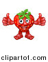 Vector Illustration of a Strawberry Mascot Giving Two Thumbs up by AtStockIllustration