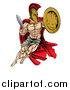 Vector Illustration of a Strong Spartan Trojan Warrior Mascot Wearing a Cape, Jumping with a Sword and Shield by AtStockIllustration