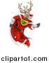 Vector Illustration of a Super Hero Rudolph Red Nosed Reindeer Running in a Cape by AtStockIllustration