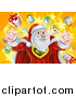 Vector Illustration of a Super Hero Santa Claus Flexing over a Star Burst with Gifts by AtStockIllustration