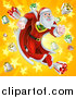 Vector Illustration of a Super Hero Santa Claus Running in a Christmas Suit over a Star Burst with Gifts by AtStockIllustration