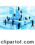 Vector Illustration of a Team of Silhouetted Business Men and Women Assembling a Pyramid of 3d Blue Cubes, on Blue by AtStockIllustration