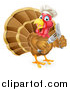 Vector Illustration of a Thanksgiving Turkey Bird Wearing a Chef Hat and Holding Silverware by AtStockIllustration