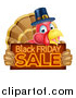 Vector Illustration of a Thanksgiving Turkey Bird Wearing a Pilgrim Hat and Holding a Black Friday Sale Sign by AtStockIllustration