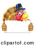 Vector Illustration of a Thanksgiving Turkey Bird Wearing a Pilgrim Hat and Holding a Blank Sign by AtStockIllustration