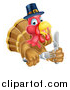 Vector Illustration of a Thanksgiving Turkey Bird Wearing a Pilgrim Hat and Holding Silverware by AtStockIllustration
