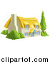 Vector Illustration of a Thatched Roof Cottage Farm House with Shrubs by AtStockIllustration