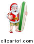 Vector Illustration of a Thumb up Summer Santa Claus with Shorts Sandals and a Surf Board by AtStockIllustration