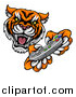 Vector Illustration of a Tiger Mascot Playing a Video Game by AtStockIllustration