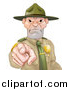 Vector Illustration of a Tough and Angry White Male Forest Ranger Pointing Outwards by AtStockIllustration