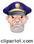 Vector Illustration of a Tough and Angry White Male Police Officer by AtStockIllustration