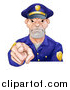 Vector Illustration of a Tough and Angry White Male Police Officer Pointing Outwards by AtStockIllustration