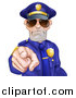 Vector Illustration of a Tough and Angry White Male Police Officer Wearing Sunglasses and Pointing Outwards by AtStockIllustration