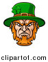 Vector Illustration of a Tough Angry St Patricks Day Leprechaun Mascot Face by AtStockIllustration