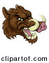 Vector Illustration of a Tough Brown Razorback Boar Mascot Head Facing Right by AtStockIllustration