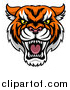 Vector Illustration of a Tough Tiger Mascot Face by AtStockIllustration