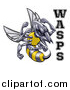 Vector Illustration of a Tough Wasp Sports Team Mascot Holding up Fists by Text by AtStockIllustration