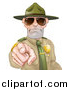 Vector Illustration of a Tough White Male Drill Sergeant Pointing Outwards and Wearing Sunglasses by AtStockIllustration