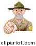 Vector Illustration of a Tough White Male Forest Ranger Pointing Outwards by AtStockIllustration
