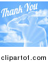 Vector Illustration of a Transparent Silhouetted Saluting Soldier over a Blue Sky and Ray Background with Thank You Text by AtStockIllustration