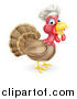Vector Illustration of a Turkey Bird Chef Facing Right by AtStockIllustration