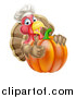 Vector Illustration of a Turkey Bird Chef Holding a Thumb up Around a Thanksgiving Pumpkin by AtStockIllustration