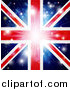 Vector Illustration of a Union Jack Flag Background with Flares and a Burst. by AtStockIllustration