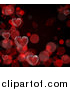 Vector Illustration of a Valentines Day Background with 3d Red Hearts over Black with Bokeh Flares by AtStockIllustration