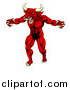 Vector Illustration of a Vicious Snarling Red Bull Man Minotaur Monster Mascot Attacking by AtStockIllustration