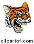 Vector Illustration of a Vicious Tiger Mascot Face by AtStockIllustration